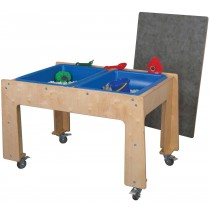 Mainstream Preschool Double Sensory Table w/locking casters, 48''w x 28½''d x 24''h (School Age shown)
