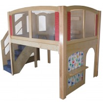 Strictly For Kids Mainstream Explorer 25 Preschool Wave Loft with Recessed Steps on the Left, Beige Carpeting (shown with Blue), 11' wide x 6'6'' deep x 94'' high, 52''h platform