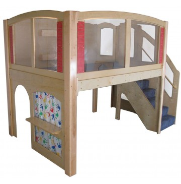 Strictly For Kids Mainstream Explorer 25 Preschool Wave Loft with Recessed Steps on the Right, Beige Carpeting (shown with Blue), 11' wide x 6'6'' deep x 94'' high, 52''h platform - sf5025r_expl25loftrghtbl-360x365.jpg