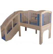 Strictly For Kids Mainstream Older Toddler Explorer 2 Wave Loft, steps on Left, Blue carpet.