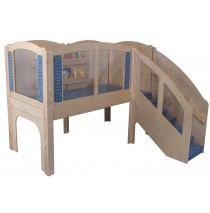 Strictly For Kids Mainstream Older Toddler Explorer 2 Wave Loft, steps on Right, Blue carpet.
