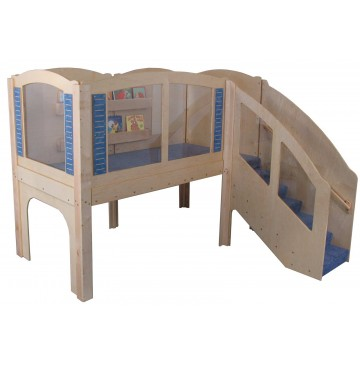 Strictly For Kids Mainstream Older Toddler Explorer 2 Wave Loft, steps on Right, Blue carpet. - sf5042tr_otodexp2loftr-360x365.jpg