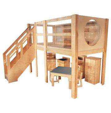 Strictly For Kids Mainstream Explorer 5 Expanded Preschool Loft, Steps Left, Blue carpet, 120''w x 60''d x 52''h deck (Loft only - furniture not included) - sf5046p60120l_stdpsexpl5x-360x365.jpg
