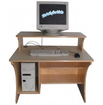 Mainstream Stationary School Age Single Computer Table w/Monitor Shelf, 36''w x 30''d x 27''h work surface (Preschool shown)