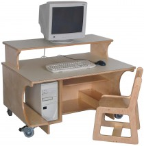 Mainstream School Age Single Computer Table w/Monitor Shelf, 42''w x 30''d x 27''h work surface (Preschool shown)