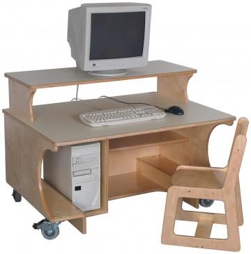 Mainstream Kindergarten Single Computer Table w/Monitor Shelf, 42''w x 30''d x 24''h work surface (Preschool shown) - sf8005_sglcomptblshelf-360x365.jpg