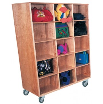 Mainstream Double Faced Jumbo Cubbies for 30 with Locking Casters, 48''w x 26''d x 64''h (Deluxe shown) - sk1064sa_jumbodblcub_30-360x365.jpg