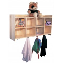 Deluxe Maple Wall Cubbies for 10, 60''w x 12''d x 24''h (Cubbies for 8 shown)