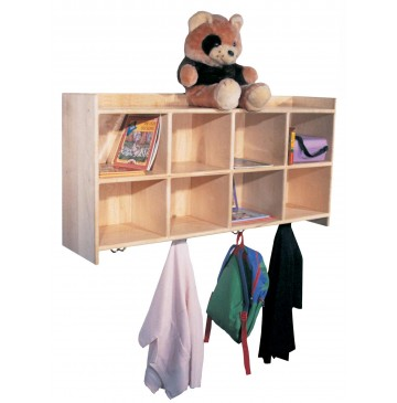 Deluxe Maple Wallhanging Cubbies for 8, 48''w x 12''d x 24''h - sk1261_dlxwallhangcub_8-360x365.jpg