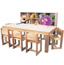 Deluxe Preschool Classroom Table,  36d x 72w x 21h (30'' x 60'' School Age shown; Chairs and Cubby Storage Unit not included)