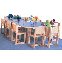 Deluxe Preschool Kidney Table, 60w x 36d x 21h (48d x 72w School Age shown; Chairs not included)