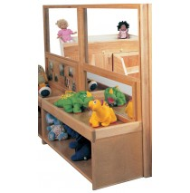 Deluxe Room Divider with 18''h Storage & Mirror