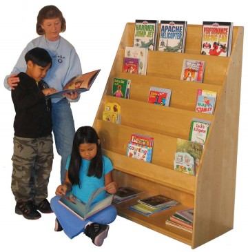 Deluxe School Age Book Display with Storage shelf, 42''w x 19''d x 57''h - sk352_dlxsabkdisplaywstor-360x365.jpg