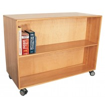 Deluxe Mobile Doublefaced Bookcase w/4'' locking casters, 48''w x 22''d x 84''h, 6 shelves (30''h w/2 shelves & 3'' casters shown)