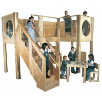 Strictly For Kids Deluxe Explorer 10 Preschool Loft, 157''w x 107''d x 94''h, 52''h deck, Beige Carpet (School Age shown; Loft only, furniture not included)