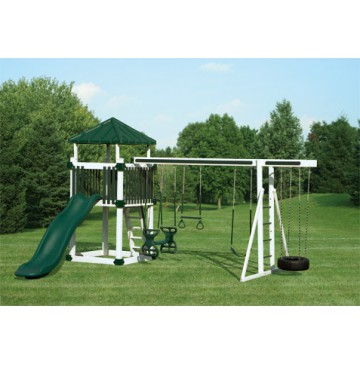 Swing Kingdom Deluxe Kastle Tower Vinyl Swing Set KC5 - 4 Color Options - kc5-white-green-360x365.jpg