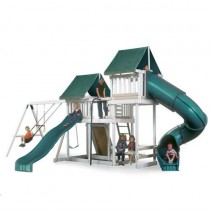Kidwise Congo Monkey Playsystems #3 Swing Set In White & Green