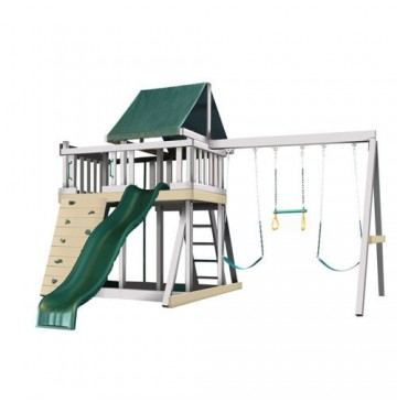 Kidwise Congo Monkey Playsystems  #1 Swing Set in White & Sand with Green Accessories - monkey1greenandwhite-360x365.jpg