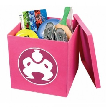 "Folding Toy Box Furniture Cube (Legacy) - 18"" Pink - storage-cube-pink-open-360x365.jpg"