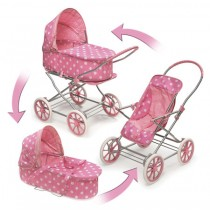 3-in-1 Pink White Polka Dots Doll Pram, Carrier, & Stroller