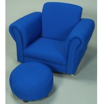 Blue Rocking Upholstered Chair with Ottoman
