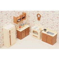 Wood Dollhouse Furniture Kit - The Kitchen Furniture
