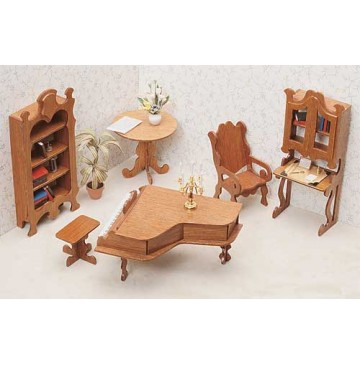 Wood Dollhouse Furniture Kit - The Library Furniture - 7206-Library-360x365.jpg