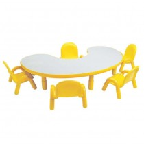 Angeles BaseLine Kidney Table With Chairs - Yellow