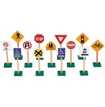 """7"""" Block Play traffic Signs by Guidecraft"""
