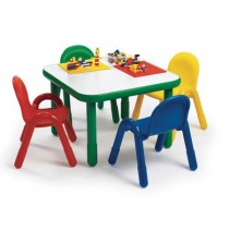 Angeles Baseline Square Table & 4 Chair Set - Primary Colors