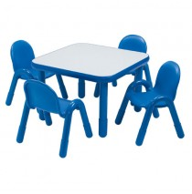 Angeles Baseline Square Table & 4 Chair Set - Blue