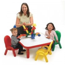Angeles Baseline Square Table & 4 Chair Set - Red Primary