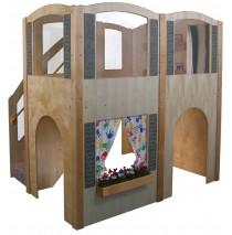 Strictly For Kids Mainstream Explorer 35 Preschool Wave Loft with Beige Carpeting & Steps on Left, 78''w x 98''d x 94''h, 52''h deck