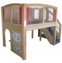 Strictly For Kids Mainstream Explorer 25 Preschool Wave Loft with Recessed Steps on the Right, Beige Carpeting (shown with Blue), 11' wide x 6'6'' deep x 94'' high, 52''h platform