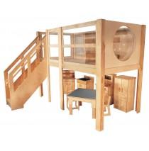 Strictly For Kids Mainstream Explorer 5 Expanded Preschool Loft, Steps Left, Beige carpet, 120''w x 60''d x 52''h deck (Loft only - furniture not included)