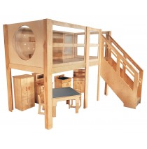 Strictly For Kids Mainstream Explorer 5 Expanded Preschool Loft, Steps Right, Beige carpet, 120''w x 60''d x 52''h deck (Loft only - furniture not included)