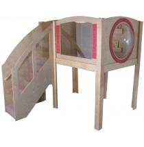 Strictly For Kids Mainstream Explorer 1 Preschool Corner Wave Loft with Beige Carpeting, Steps on Left. 7'3''w x 9'd x 94''h, 52''h platform