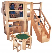 Strictly For Kids Mainstream Explorer 5 Expanded School Age Loft, Steps on right, Beige MagiCarpet, 120''w x 60''d x 60''h deck (Preschool version shown; loft only - furniture not included)
