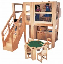Strictly For Kids Mainstream Explorer 5 Expanded School Age Loft, Steps Left, Beige Carpet, 120''w x 60''d x 60''h deck (Preschool shown; Furniture not included)