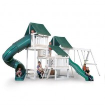 Kidwise Congo Monkey Playsystems  #4 Swing Set White & Sand Wood With Green Accessories