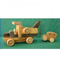 Handmade Wood Toy Tow Truck with Car